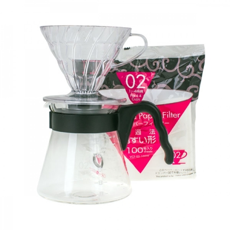 Hario sada V60-02 Pour Over Kit - (dripper + server + filtry)