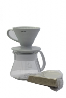 Hario sada V60 Dripper & Pot - vše v jednom ( dripper + server + filtry)
